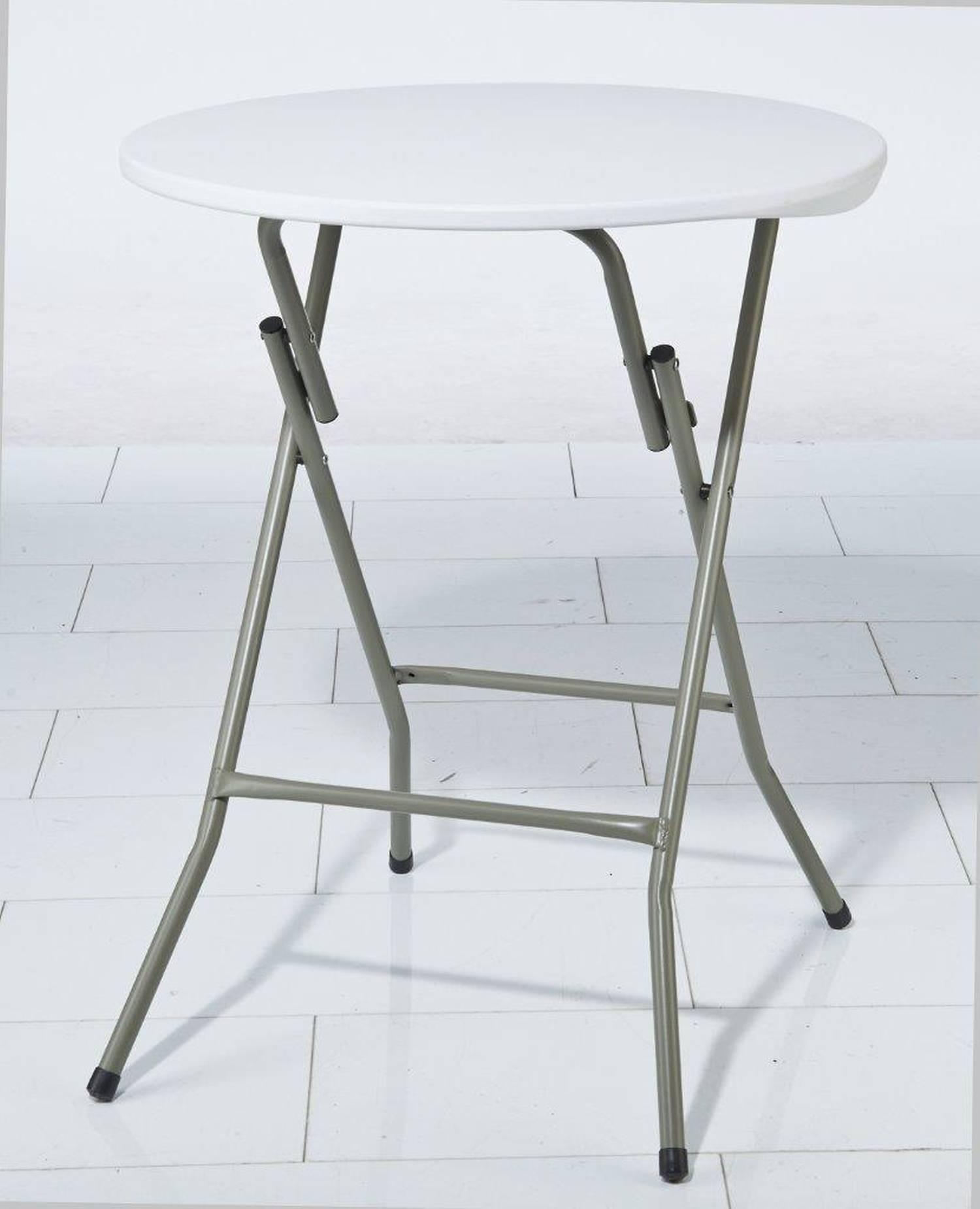 klapp tisch beistelltisch kunststoff 61cm rund weiss neu ebay. Black Bedroom Furniture Sets. Home Design Ideas