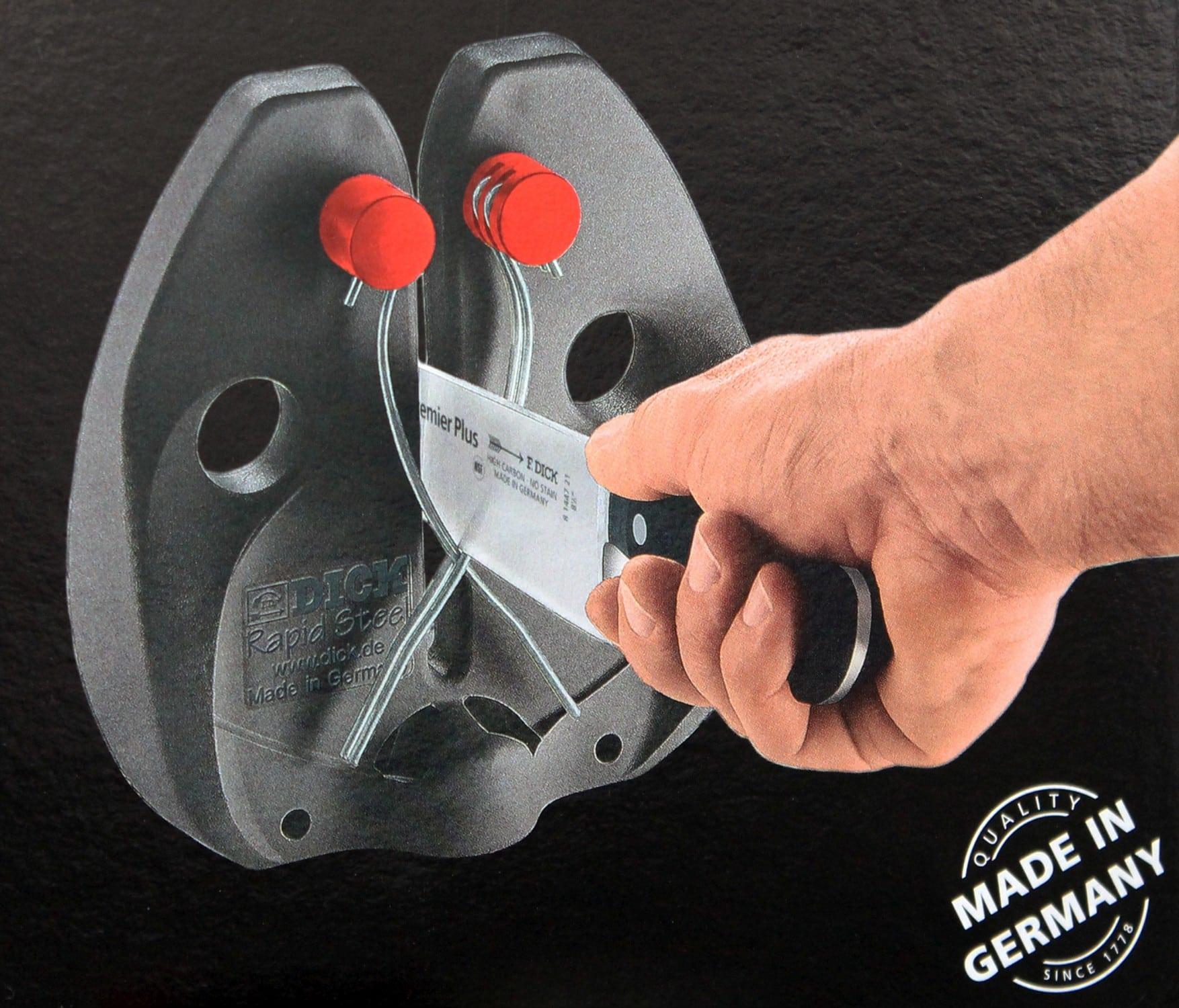 F.Dick Messerschärfer Wetzstahl Rapid Steel Action Set mit Standfuß