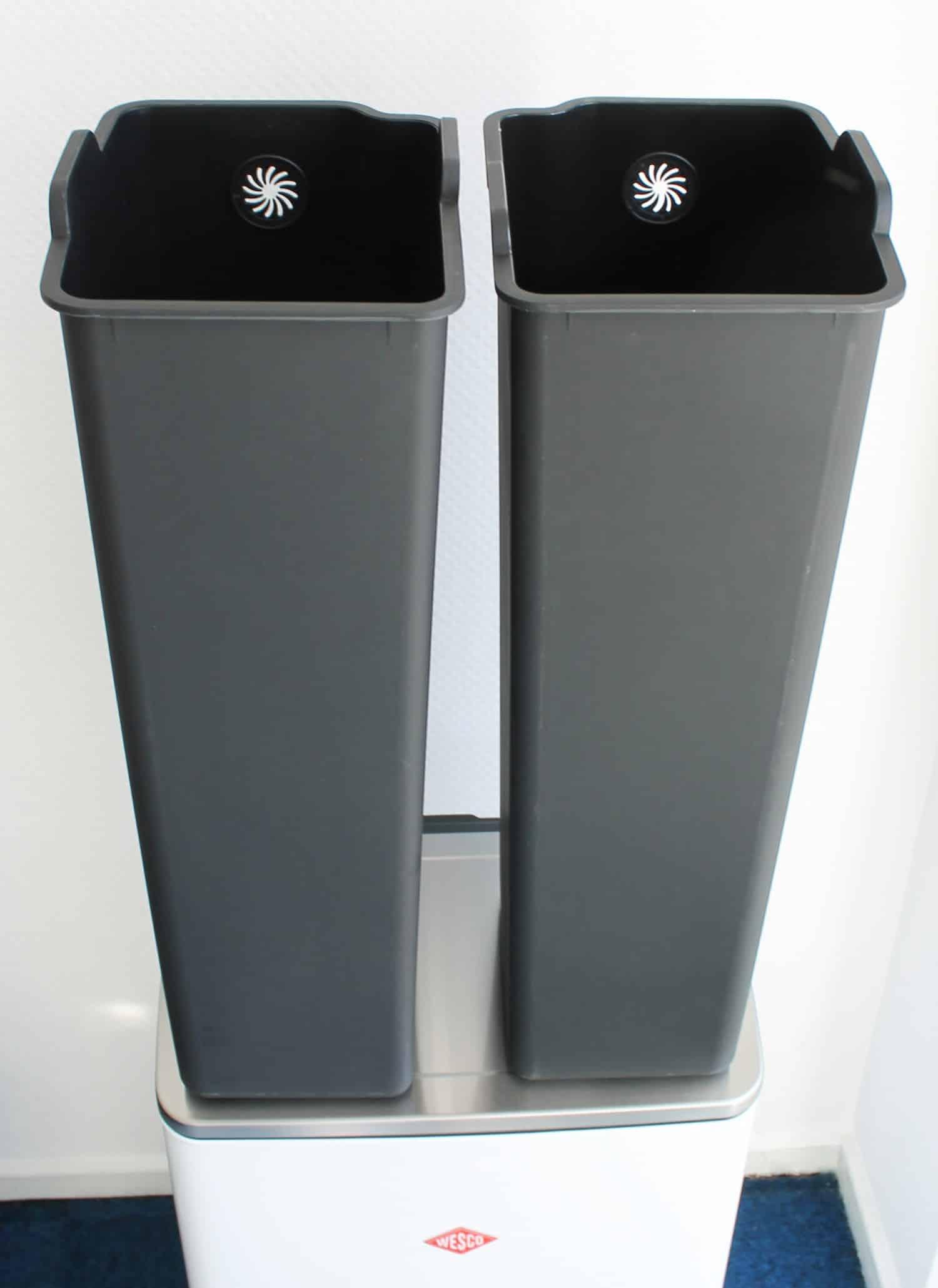 Wesco Müll-Tonne Müll-Eimer Haus-Müll-Trenner Big Double Boy Weiß NEU