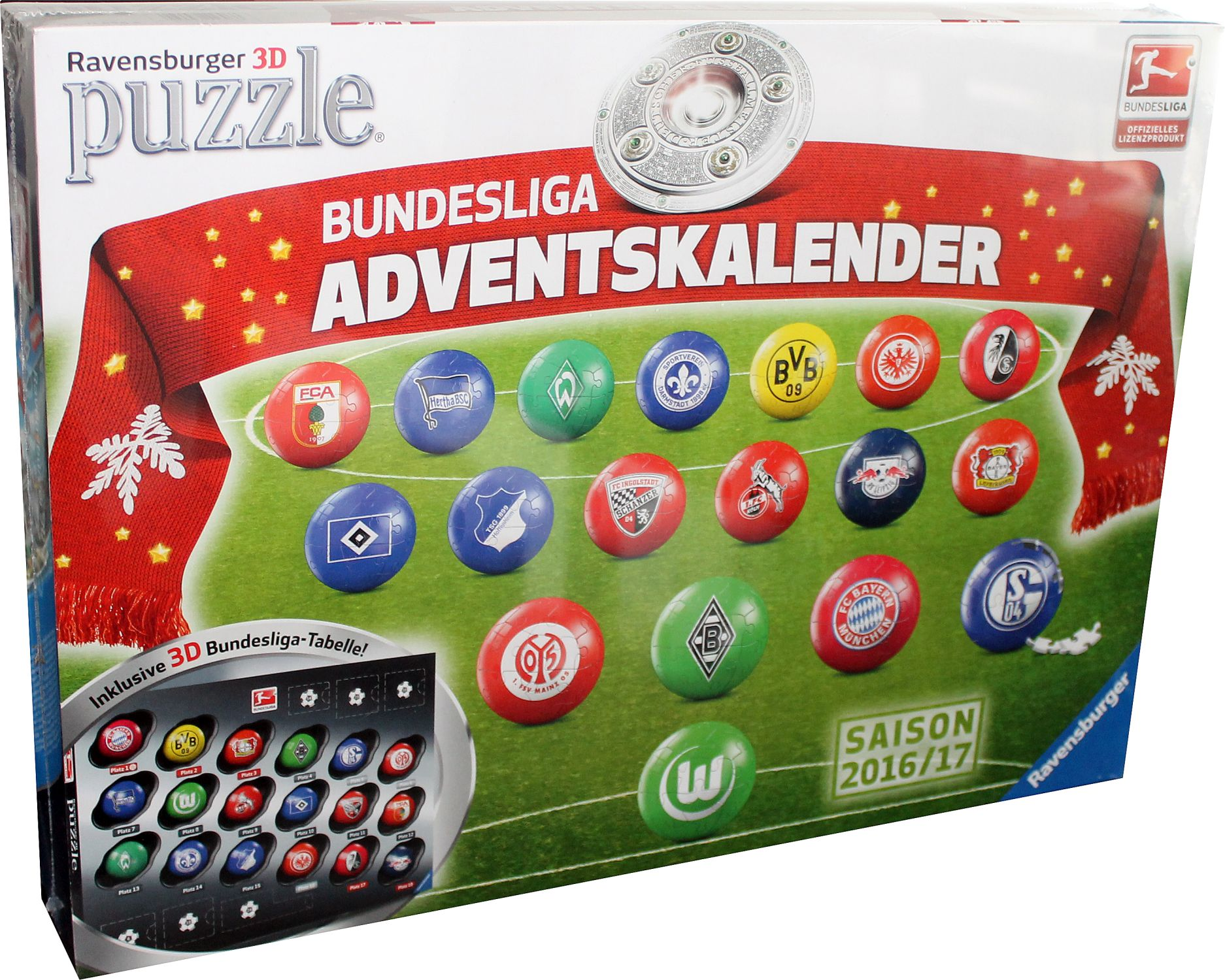Ravensburger Adventskalender 3d Puzzle Fussball Bundesliga 2016 2017 Neu