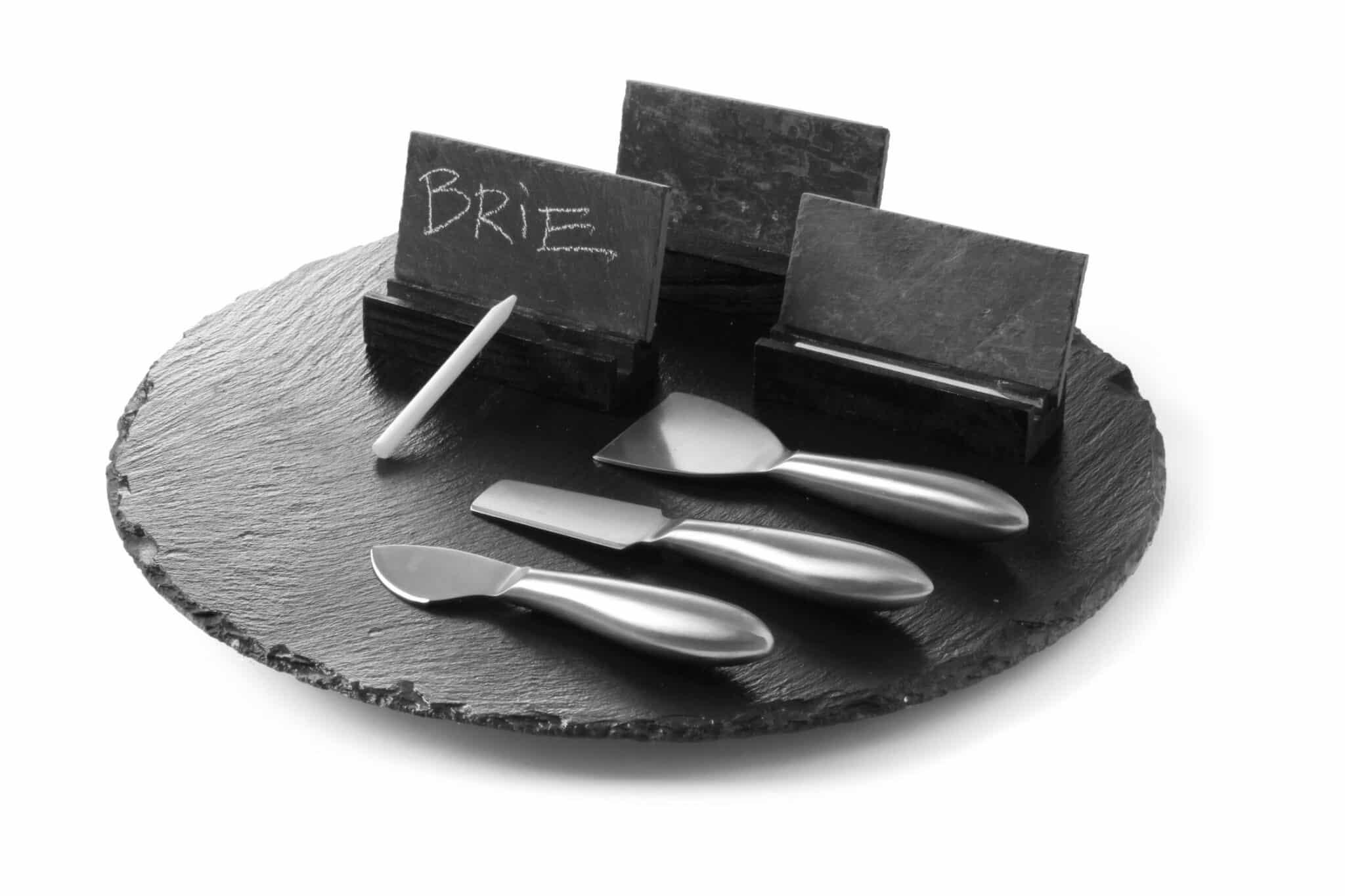 Schiefer-Platte Käseteller Kuchenteller Drehteller Set 13