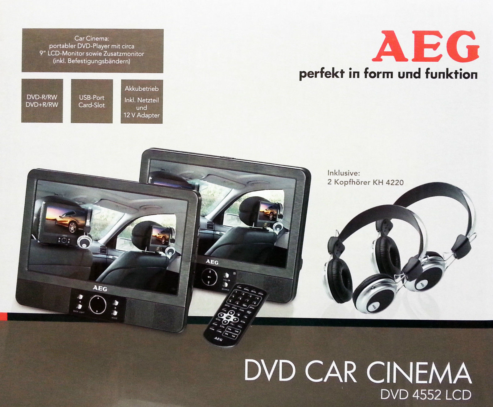 aeg dvd 4552 9 twin duo monitor dvd player car cinema mit. Black Bedroom Furniture Sets. Home Design Ideas