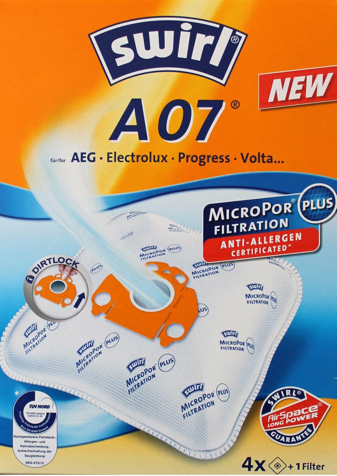 4 Filter 4 Original SWIRL A 18 MicroPor® PLUS 16 Staubsaugerbeutel für AEG